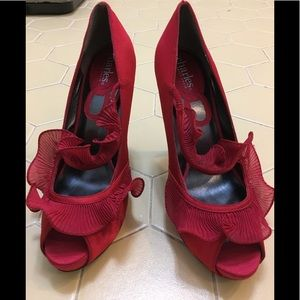 Charles by Charles David Red Peep-Toe shoes